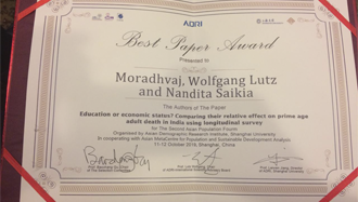 Best Paper Award for Mr. Moradhvaj and his co-authors